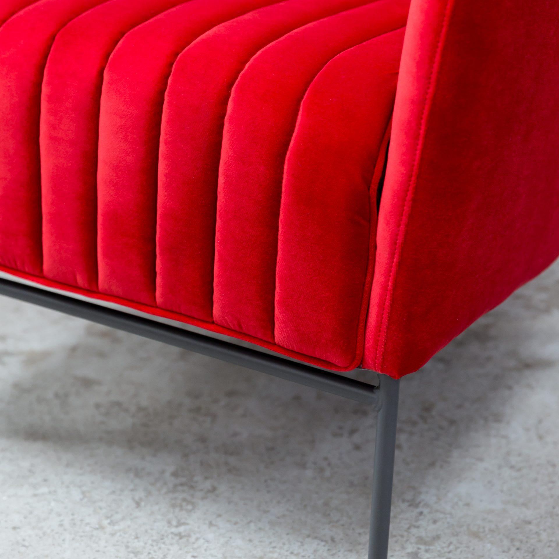 Stunning Red Velvet Armchair On Black Gloss Legs.