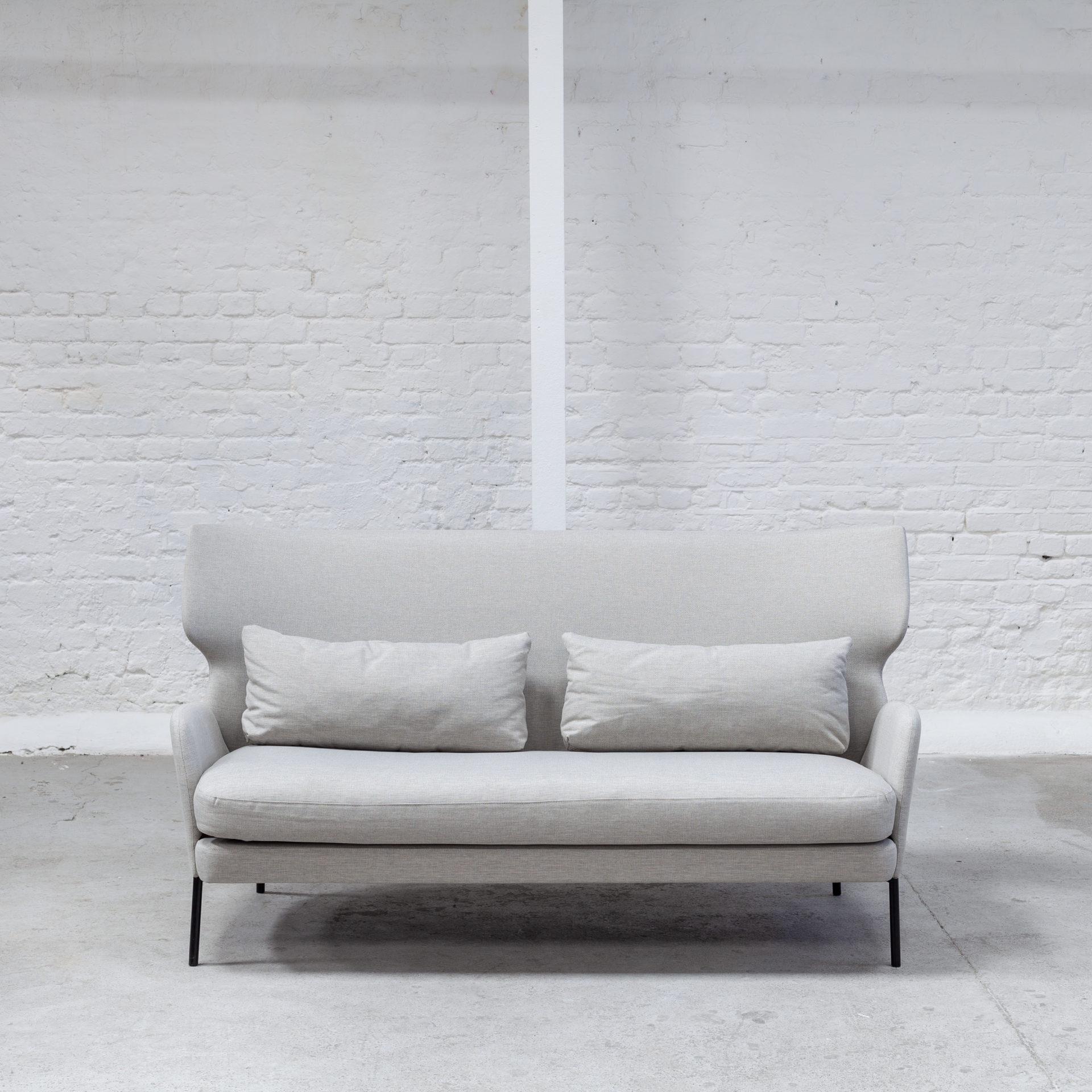 Wingback Sofa Light Grey Juno Hire