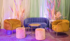 Venue transformation - velvet sofas for hire in london
